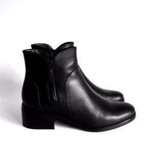 Cole Haan Waterproof Black Leather Ankle Boots